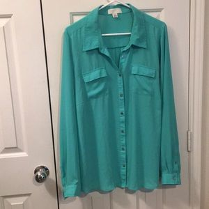 Bright mint sheer shirt
